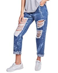 Siksilk - Blue Rip Mom Jeans - Lyst