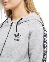 Adidas Originals | Gray Tape Zipped Hoody | Lyst