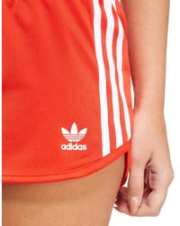Adidas Originals - Red 3-stripe Poly Shorts - Lyst