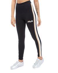 Fila - Black Stripe Leggings - Lyst