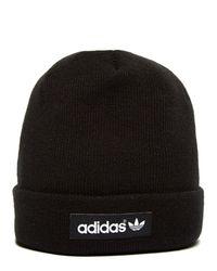 e0f202c34b3 Lyst - Adidas Originals Woven Logo Beanie Hat in Black for Men