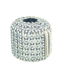 Pandora - Metallic 791873cz Sterling Silver With Clear Cz Pave Barrel Clip - Lyst