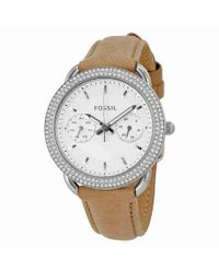 Fossil - Metallic Tailor Multifunction Ladies Leather Watch Es4053 - Lyst