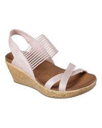 Skechers - Pink Beverlee High Tea Wedge Sandal - Lyst