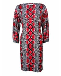 Calvin Klein | Red Boat Neck Snake Print Jersey Dress (4 | Lyst