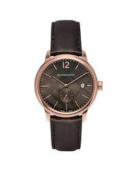 Burberry   Dark Brown Dial Brown Leather Strap Quartz Watch Bu10012 for Men   Lyst