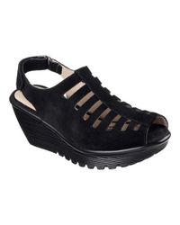 Skechers - Black Parallel Trapezoid Platform Wedge Sandal - Lyst