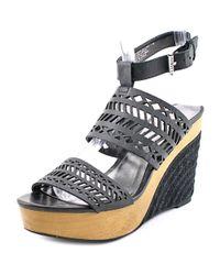 Lauren by Ralph Lauren - Georgina Women Us 6 Black Wedge Sandal - Lyst