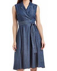 Tommy Hilfiger - Blue Size 14 Denim Faux Wrap Shirt Dress - Lyst