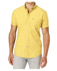 Tommy Hilfiger - Yellow Classic Fit Short Sleeves Button-down Shirt for Men - Lyst