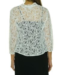 Calvin Klein - Multicolor White Size Medium M Lace Scallop Shrug Jacket - Lyst