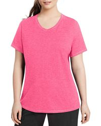 Champion - Pink Plus Solid Jersey V-neck Top - Lyst