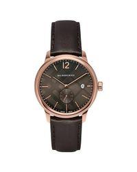 Burberry | Dark Brown Dial Brown Leather Strap Quartz Watch Bu10012 for Men | Lyst