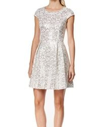 Calvin Klein - Natural Womens Sequined Box Pleat Party Dress - Lyst