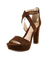 Vince Camuto - Shayla Women Open Toe Suede Brown Platform Heel - Lyst
