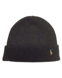 Polo Ralph Lauren | Black Signature Merino Cuff Pony Hat Beanie-olive for Men | Lyst