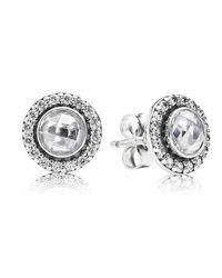 Pandora - Metallic Statement Sparkling Stud Earrings - Lyst