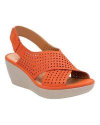 377036d28a8 Lyst - Clarks Artisan Women s Clarene Award Slingback Wedge Sandals ...