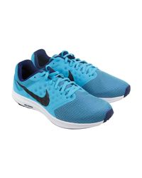 9028fa51f5cd3 Lyst - Nike Downshifter 7 Blue Black Athletic Running Shoes in Blue ...
