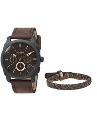 Fossil | Multicolor Machine Leather Chronograph Watch Set Fs5251set for Men | Lyst