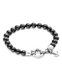 Anchor & Crew - Black Onyx Port Silver And Stone Bracelet - Lyst
