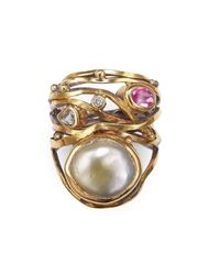 Bergsoe - Multicolor Gold & South Sea Pearl Twisted Ring | - Lyst