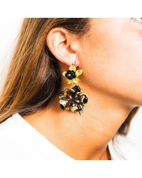 Pats Jewelry - Multicolor Brass & Black Onyx Glossy Camellia Earrings - Lyst