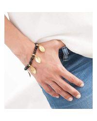 Hissia | Metallic Melanite Garnet Bracelet With Gold Shields Charms | Lyst