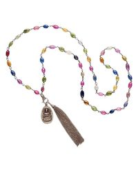 Nadean Designs - Metallic Multi Sapphire Pave Diamond Buddha And Tassel Necklace - Lyst