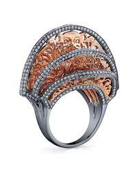 Bochic - Metallic Oriental Pink Gold And Diamond Fan Ring - Lyst