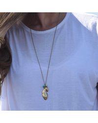 Stephanie Gorski Jewelry - Blue Gold Leaf Necklace - Lyst