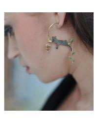 Amanda Coleman - Multicolor Asymmetric Reclining Leopard Earrings With Flower - Lyst