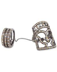 Bochic - Metallic Three Row Chained Hellenic Masque Ring - Lyst