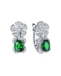 SILVER YULAN | Green Cushion Cut Tsavorite Diamond Flower Earrings | Lyst