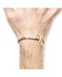 Anchor & Crew - Multicolor Mustard Yellow Brig Silver And Leather Bracelet for Men - Lyst