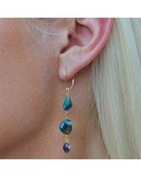 Nadean Designs - Metallic Black Opal Mismatch Earrings On 14kt Yellow Gold - Lyst