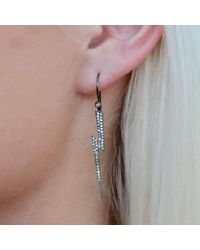 Nadean Designs - Multicolor Pave Diamond Oxidised Silver Lightning Bolt Earrings - Lyst