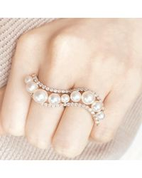 Vea Fine Jewelry - Metallic Floating Pearl & Diamond Ring Set In Rose Gold - Lyst