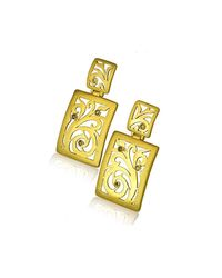 Alex Soldier - Metallic 18kt Gold & Champagne Diamonds Ornament Earrings With Contrast Texture - Lyst