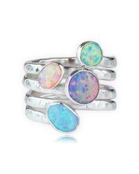 Lavan - Metallic Silver Multi Opal Coil Ring - Lyst