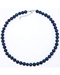 Lily Blanche - Blue Classic Pearl Necklace - Midnight - Lyst