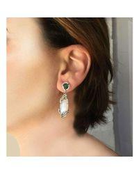 Arya Esha | Black Diana Rainbow Moonstone Earrings With Emerald Accent | Lyst