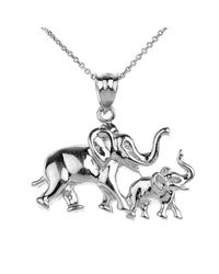 QP Jewellers - Multicolor Mother And Child Elephant Pendant 9kt White Gold - Lyst