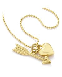 Vicky Davies - Multicolor Sterling Silver & 18kt Gold Heart & Arrow Pendant Necklace - Lyst