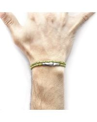 Anchor & Crew - Metallic Yellow Noir Liverpool Silver And Rope Bracelet for Men - Lyst