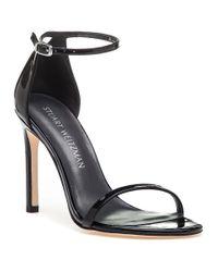 Stuart Weitzman - Nudistsong Black Patent Leather Sandal - Lyst