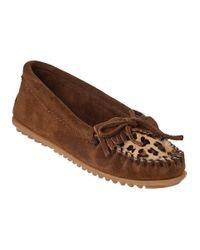 Minnetonka | Multicolor Kilty Moccasin Leopard/dusty Brown Suede | Lyst