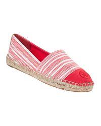 Tory Burch | Stripe Flat Espadrille Red Fabric | Lyst