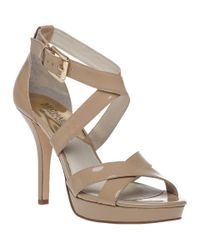 MICHAEL Michael Kors | Natural Evie Platform Sandal Nude Patent | Lyst