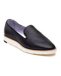 Johnston & Murphy | Paulette Black Perforated Leather Slip On | Lyst